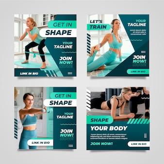 Gradient gesundheit und fitness instagram posts sammlung mit foto