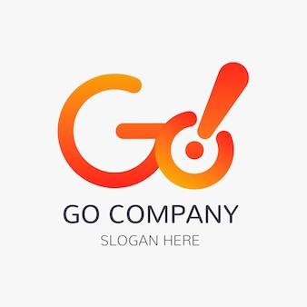 Gradient go-logo-vorlage mit slogan-raum