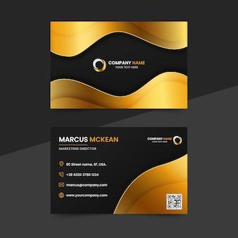 Gradient goldene horizontale luxus-visitenkartenvorlage