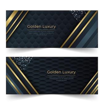 Gradient goldene horizontale luxusfahnen eingestellt