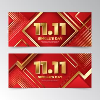 Gradient goldene und rote single's day horizontale banner set