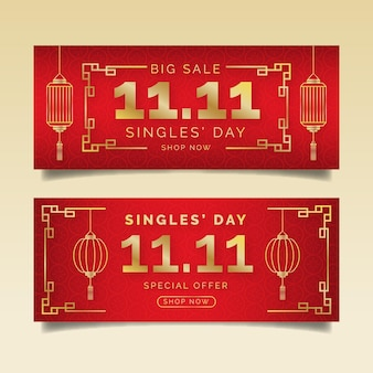 Gradient goldene und rote single's day horizontale verkaufsbanner eingestellt
