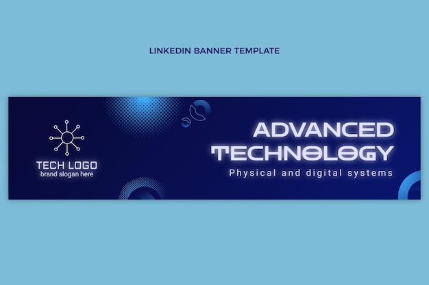 Gradient halftone technologie linkedin banner