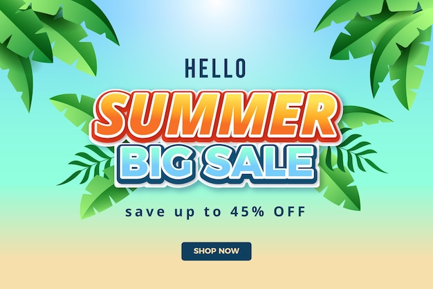 Gradient hallo sommerverkaufshintergrund Kostenlosen Vektoren