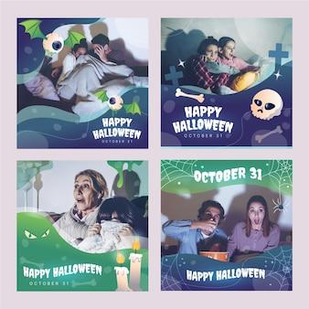 Gradient halloween instagram posts sammlung mit photoinstagram story collection
