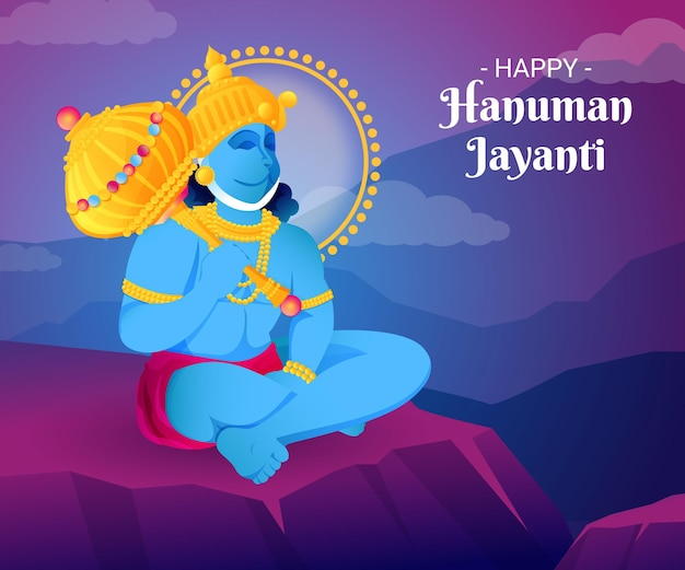Gradient hanuman jayanti illustration