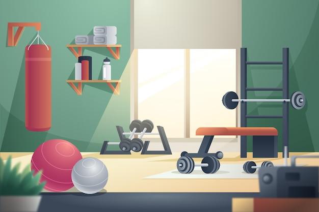 Gradient heim-fitnessstudio mit geräten