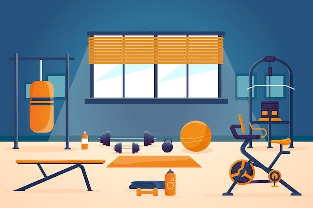 Gradient home gym illustration