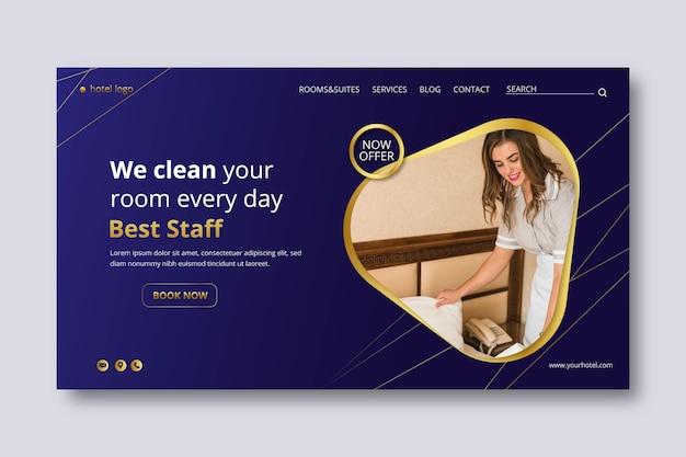 Gradient hotel banner vorlage mit foto