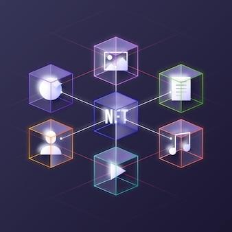 Gradient illustriertes nft-konzept