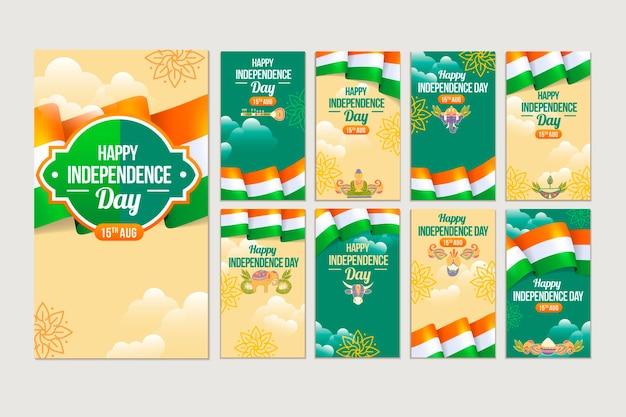 Gradient india independence day instagram-geschichten-sammlung