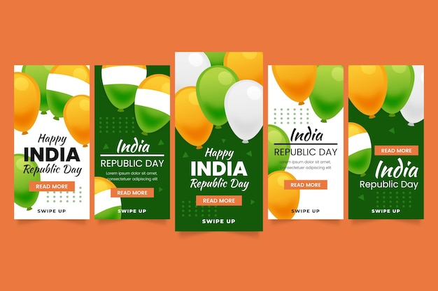 Gradient india independence day instagram story collection
