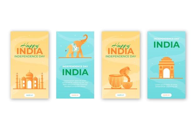 Gradient indien unabhängigkeitstag instagram-geschichten-sammlung Kostenlosen Vektoren