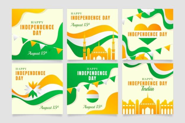 Gradient indien unabhängigkeitstag instagram posts sammlung Kostenlosen Vektoren