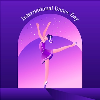 Gradient international dance day illustration