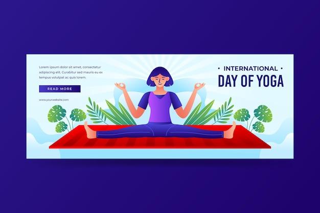 Gradient internationaler tag der yoga-banner-vorlage