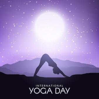 Gradient internationaler tag der yoga-illustration