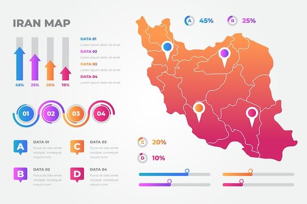 Gradient iran karte infografiken vorlage