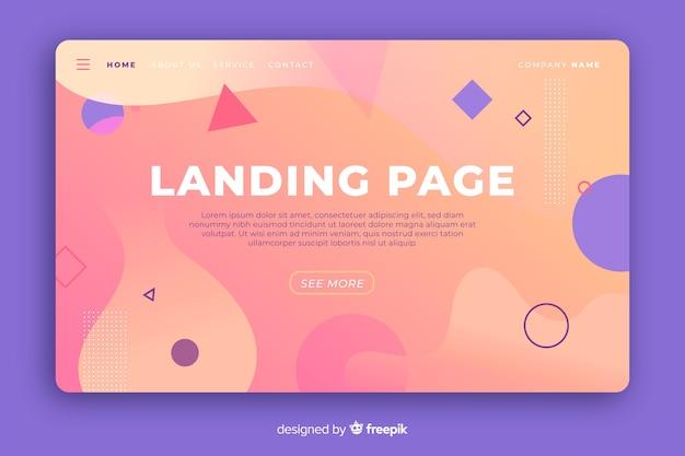 Gradient landing landing page mit geometrischen und flüssigen formen