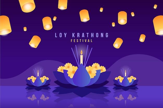 Gradient loy krathong konzept