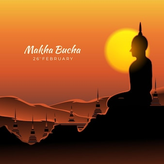 Gradient makha bucha tag illustration