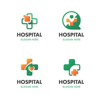 Gradient medical and health logo flat icon vector design template set in cross round shape