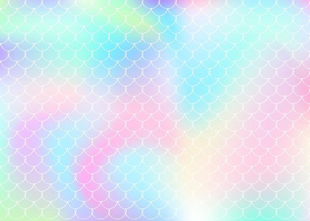 Gradient meerjungfrau hintergrund mit holographischen skalen. helle farbübergänge