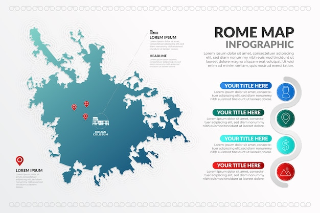 Gradient metropole von rom hauptstadt karte infografiken