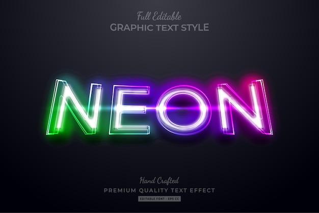 Gradient neon bearbeitbarer premium-textstil-effekt