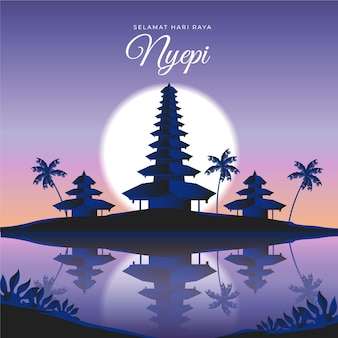 Gradient nyepi illustration