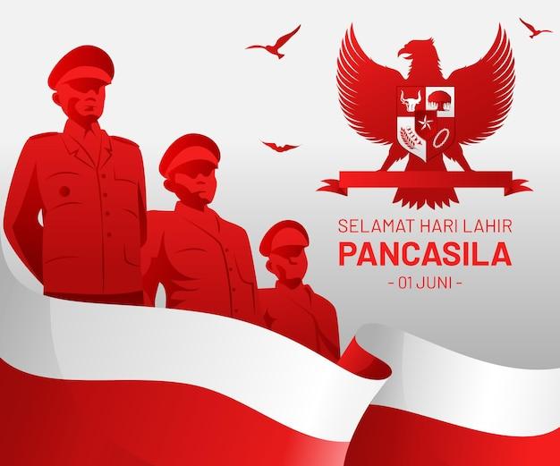 Gradient pancasila tag illustration