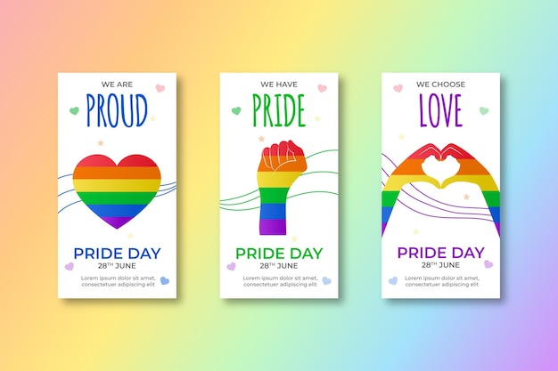 Gradient pride day instagram geschichten sammlung