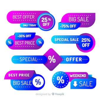 Gradient sale label-sammlung