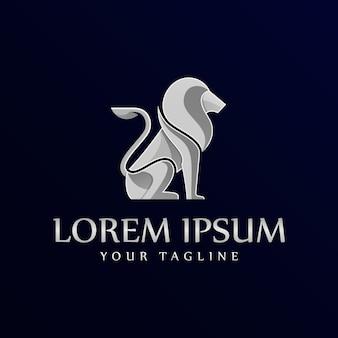 Gradient silver lion logo template