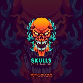 Gradient skull logo vorlage