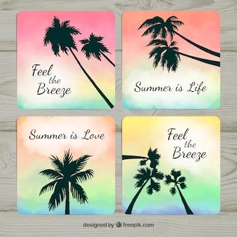 Gradient sommer karten mit silhouette palmen