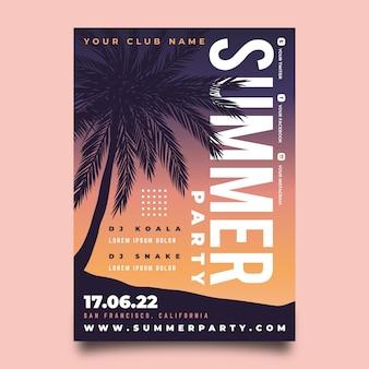 Gradient sommerfest poster vorlage
