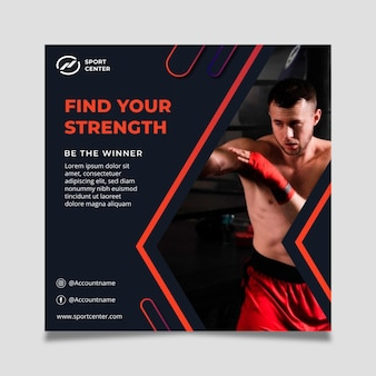 Gradient sport quadratische flyer vorlage mit männlichen boxer