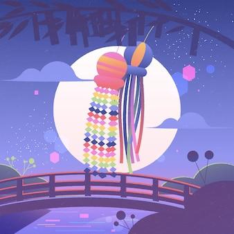 Gradient tanabata feier illustration
