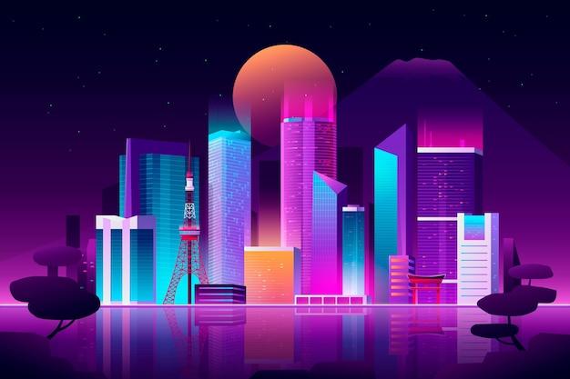 Gradient tokio skyline mit neonfarben