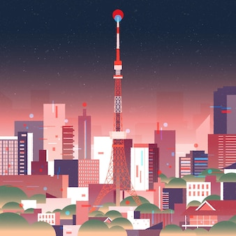 Gradient tokio skyline mit neonlichtern