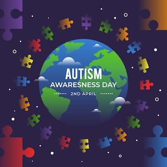 Gradient world autism awareness day illustration mit puzzleteilen