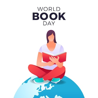 Gradient world book day illustration mit frau, die buch auf planet liest