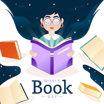 Gradient world book day illustration