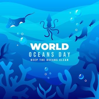 Gradient world oceans day illustration