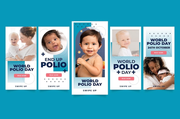Gradient world polio day instagram story collection