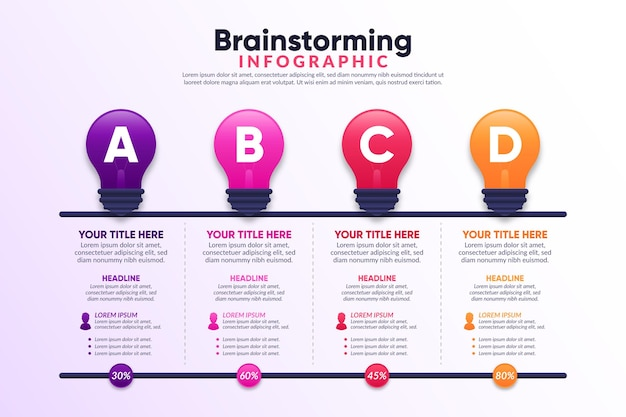 Gradienten-brainstorming-infografik-konzept