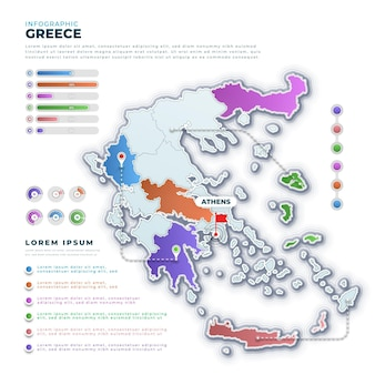 Gradienten griechenland karte infografik