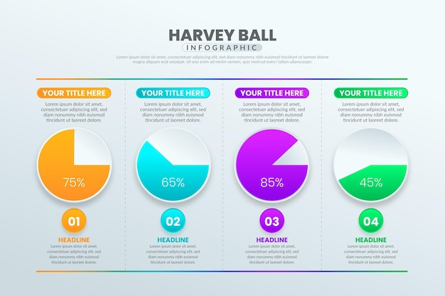 Gradienten harvey ball infografik