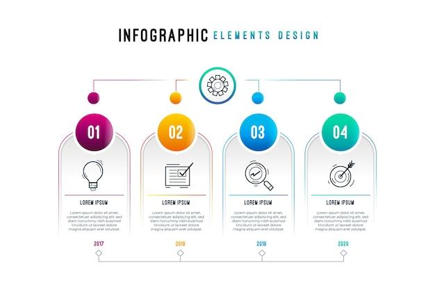 Gradienten-infografik mit prozess